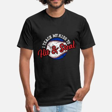 Hit I Teach My Kids to Hit & Steal - Unisex Poly Cotton T-Shirt