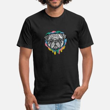 The Pug Face pug face - Fitted Cotton/Poly T-Shirt by Next Level