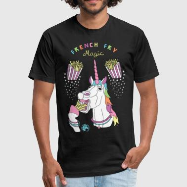 French Fry Magic Unicorn Outline - Fitted Cotton/Poly T-Shirt by Next Level