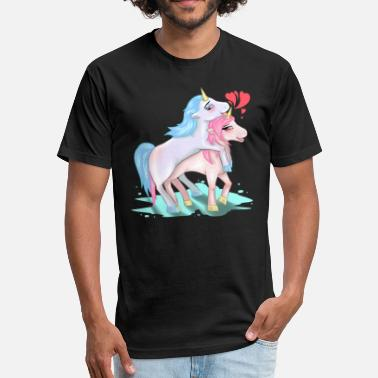 Fucking Sex Position Unicorns Making Love Sex Fucking Mating Horny Gift - Fitted Cotton/Poly T-Shirt by Next Level