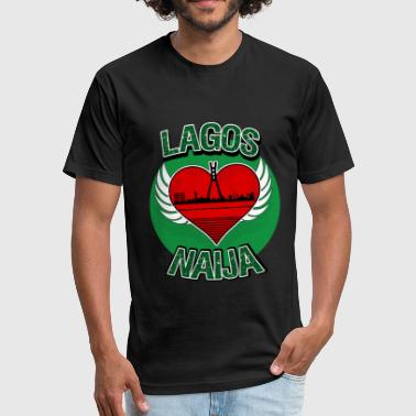 Afrobeat Lagos Naija Nigeria Eko Skyline - Fitted Cotton/Poly T-Shirt by Next Level