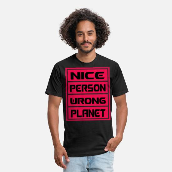 Idiom T-Shirts - Nice person wrong planet Idioms phrases inspired - Unisex Poly Cotton T-Shirt black