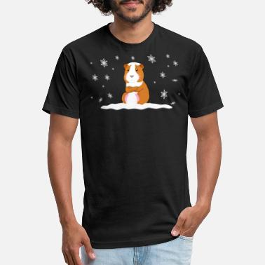 Sweet Brown A Sweet Brown Guinea Pig Sitting In The Snow - Unisex Poly Cotton T-Shirt