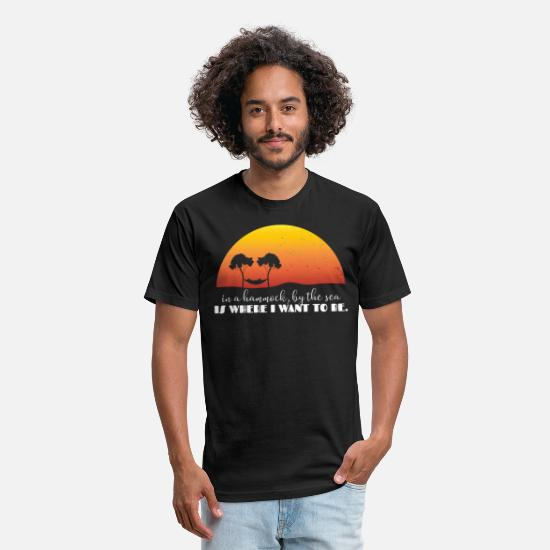 Camping T-Shirts - Hammock By The Sea Hammock Gift Idea Hammocking - Unisex Poly Cotton T-Shirt black