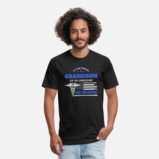 Cleaning T-Shirts - Proud Grandson of an ER Nurse Awesome Distressed - Unisex Poly Cotton T-Shirt black