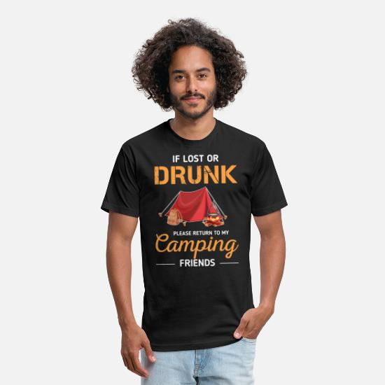 Camping T-Shirts - If Lost Or Drunk Please Return To My Camping - Unisex Poly Cotton T-Shirt black