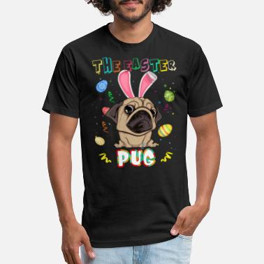 The Easter Pug With Bunny Ear Cute Easter T shirt - Unisex Poly Cotton T-Shirt