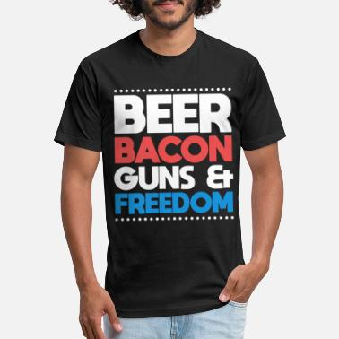 8ebab061d6 Beer Bacon Guns And Freedom Funny 4th Off July - Unisex Poly Cotton T-Shirt
