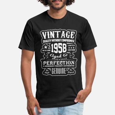 1958 Aged To Perfection Vintage - Aged to Perfection 1958 - Giftidea - Fitted Cotton/Poly T-Shirt by Next Level