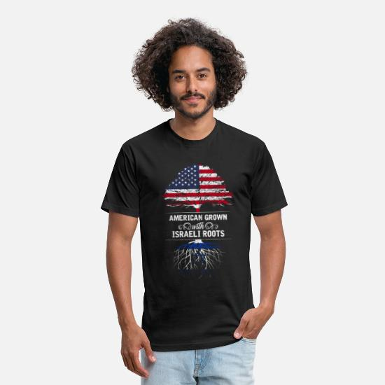 Girls T-Shirts - American grown with Israeli roots - Unisex Poly Cotton T-Shirt black