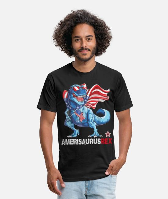 Dinosaurs T-Shirts - Dinosaur 4th of July - Funny Cute Amerisaurus-Rex - Unisex Poly Cotton T-Shirt black