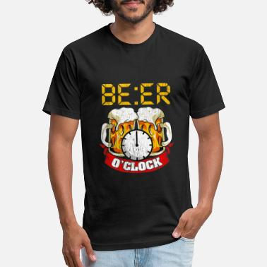 Beer O Clock Funny Humor Drinking Sayings Quotes - Unisex Poly Cotton T-Shirt