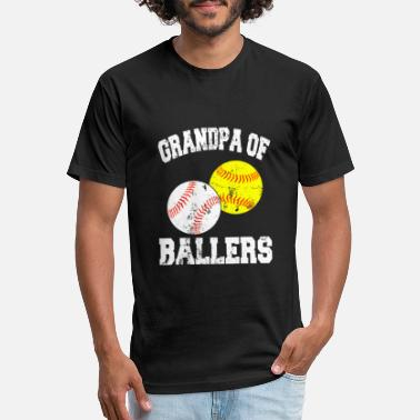 Mens Grandpa of Ballers Shirt Funny Baseball - Unisex Poly Cotton T-Shirt