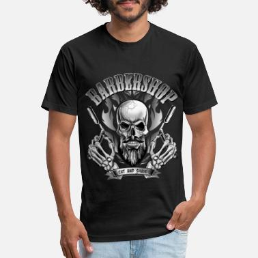 Razor Blade Barbershop skull or skull with bald head - Unisex Poly Cotton T-Shirt