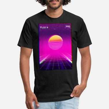ad9120c15 80s Neon Grid Sunset Vaporwave Synthwave Outrun - Unisex Poly Cotton T-Shirt