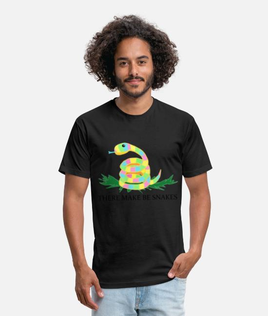 Signpost T-Shirts - There Make Be Snakes - Unisex Poly Cotton T-Shirt black