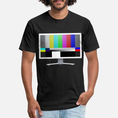 Display White LCD monitor with color bars - Unisex Poly Cotton T-Shirt