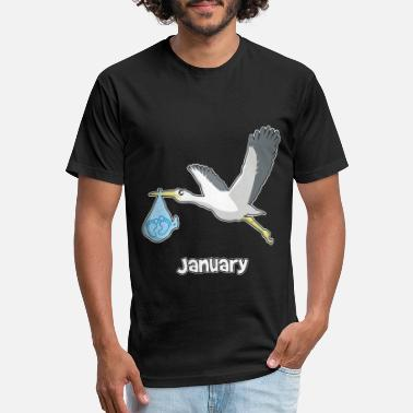 Baby Shower Boy Baby shower boy stork baby feet January - Unisex Poly Cotton T-Shirt
