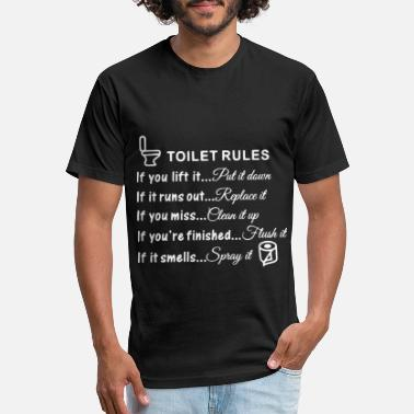 Toilet Humor Toilet Rules - toilet paper roll - Unisex Poly Cotton T-Shirt