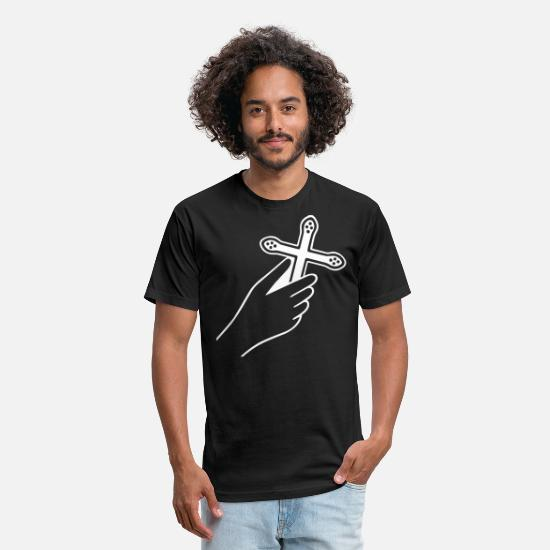 Religious T-Shirts - A Cross In Hand - Unisex Poly Cotton T-Shirt black