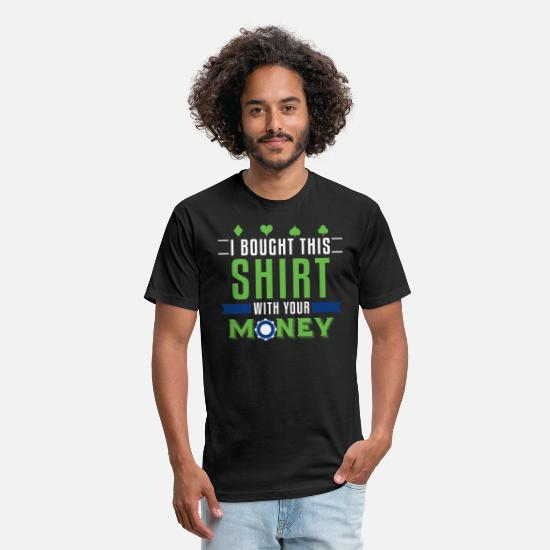 Heart T-Shirts - Poker Chips Casino Money Playing Cards Funny - Unisex Poly Cotton T-Shirt black