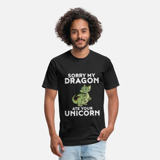 Proud T-Shirts - Dragon Funny Sorry My Dragon Ate Your Unicorn Gift - Unisex Poly Cotton T-Shirt black