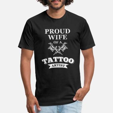 Proud wife of a tattoo artist - Unisex Poly Cotton T-Shirt