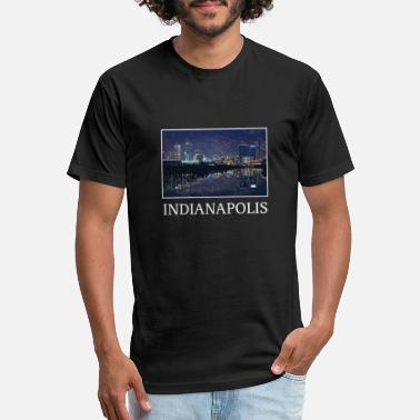 Us Cities Indianapolis City Skyline USA US - Unisex Poly Cotton T-Shirt