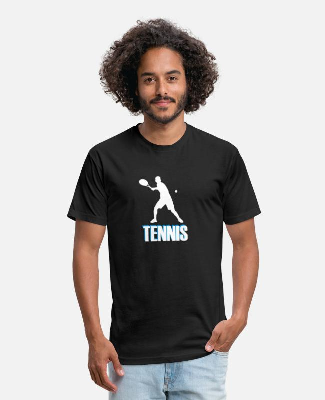 Tennis Racket T-Shirts - Tennis with colored font - Unisex Poly Cotton T-Shirt black