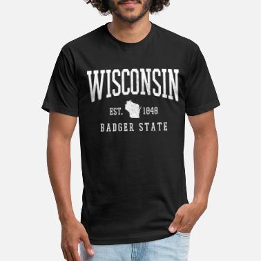 Wisconsin Badger State Map Souvenir Gift - Unisex Poly Cotton T-Shirt