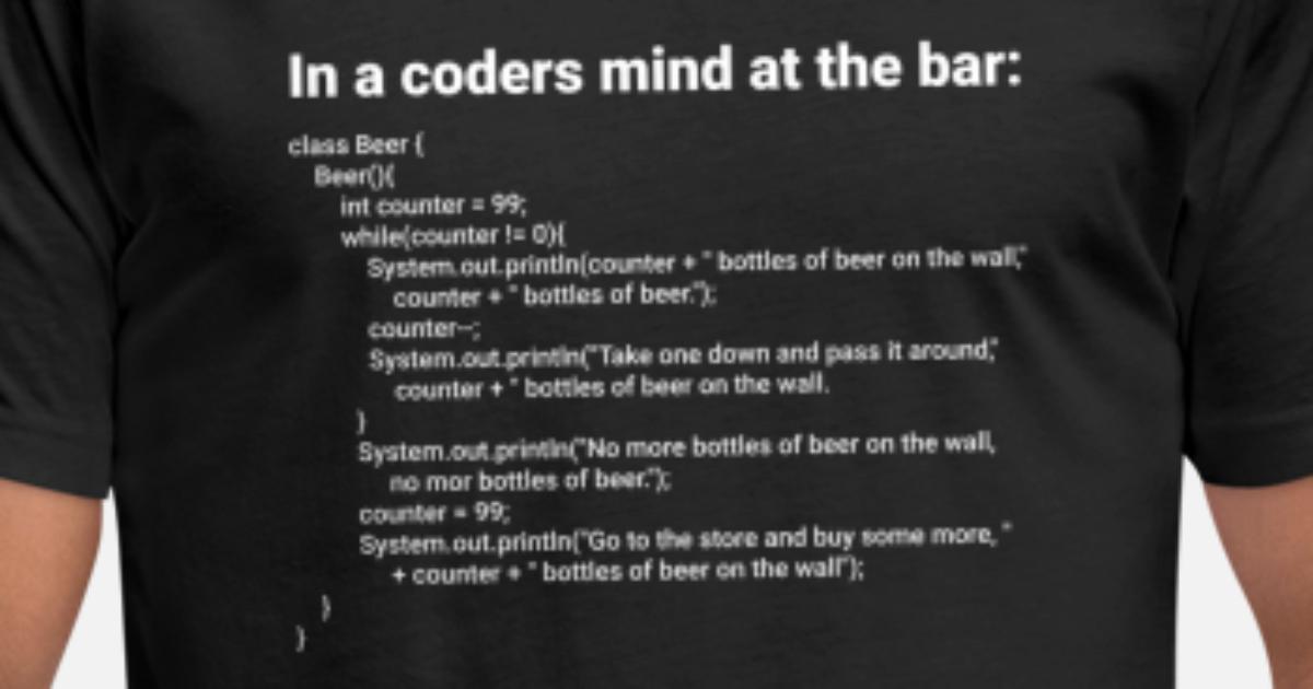 Simple Java 99 Bottles Of Beer Song Lyrics Unisex Poly Cotton T Shirt