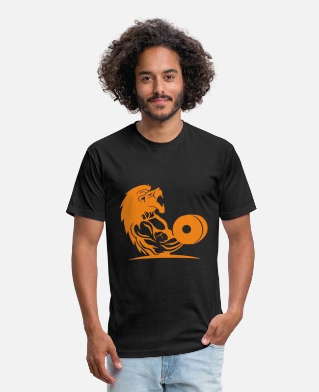 Wild Cat T-Shirts - weightlifting lion - Unisex Poly Cotton T-Shirt black