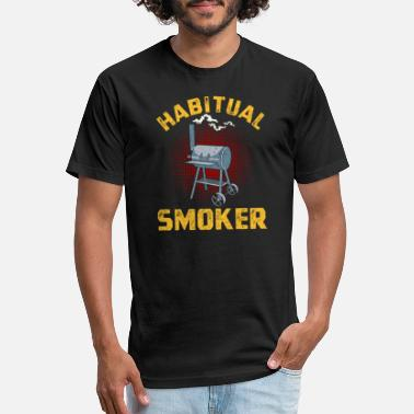Smoker BBQ Habitual Smoker Funny Grilling design - Unisex Poly Cotton T-Shirt
