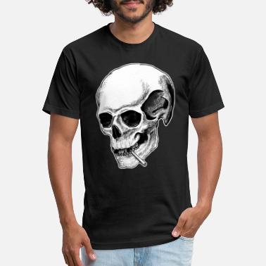 Rocker Smoking Skull - Unisex Poly Cotton T-Shirt