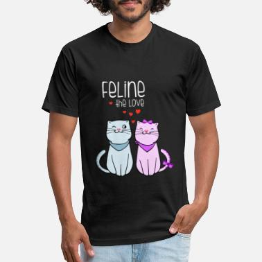 Oversized-t-shirts feline the love valentines cat couple frauen overs - Unisex Poly Cotton T-Shirt