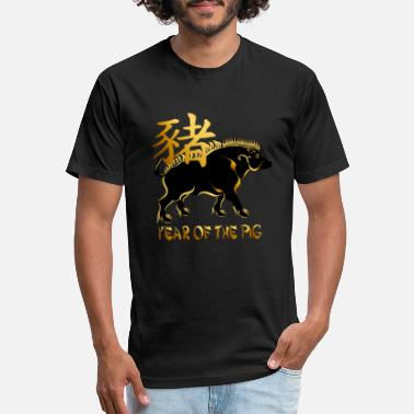Boar Year Of The Pig-Black Boar Symbol - Unisex Poly Cotton T-Shirt