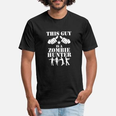 This Guy Is A Zombie Hunter - Unisex Poly Cotton T-Shirt