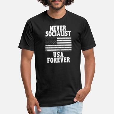 25ff8995 Anti-democrat Never Socialist USA Forever T Shirt - Unisex Poly Cotton T- Shirt