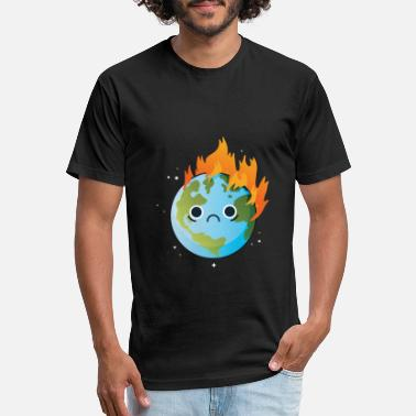 Burning Burning Sad Earth on Fire #Earth Day! - Unisex Poly Cotton T-Shirt