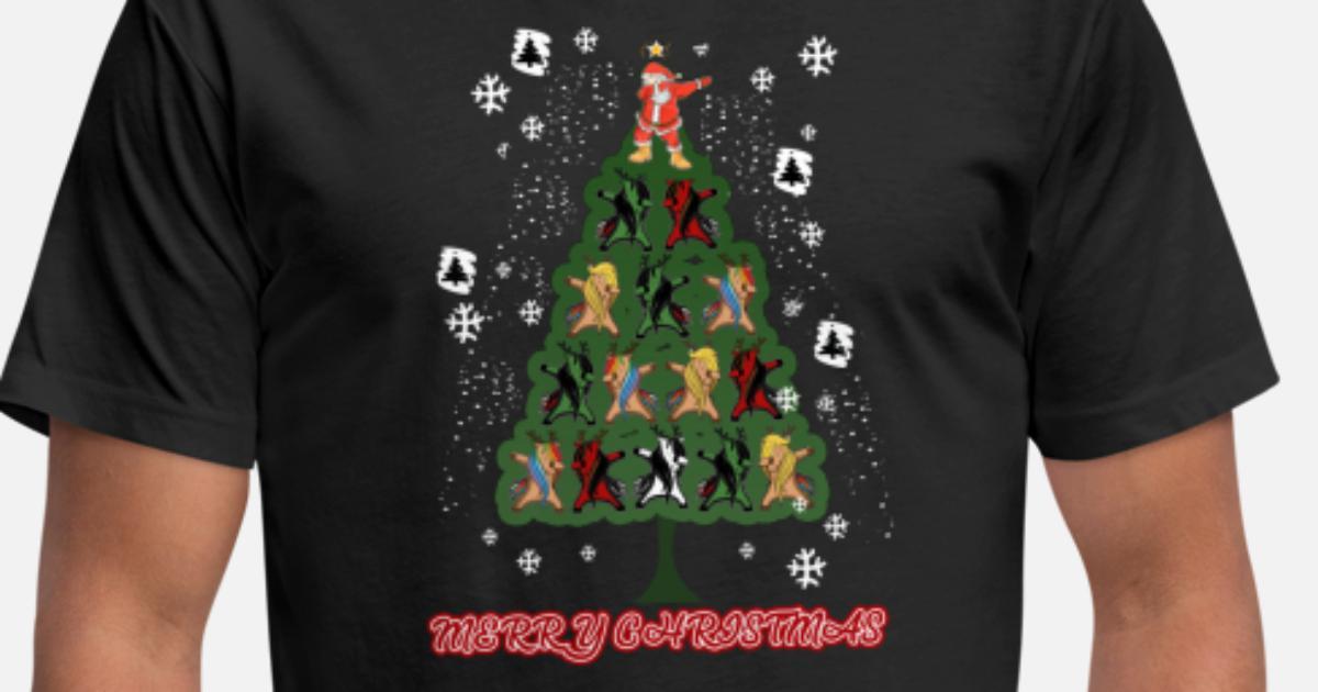 a89e06f64449a Dabbing Santa Reindeer Christmas Tree Gift Tee Unisex Poly Cotton T-Shirt