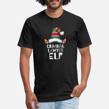 Law School Criminal Elf Christmas Holidays Xmas Elves Attorney Law School - Fitted Cotton/Poly T-Shirt by Next Level