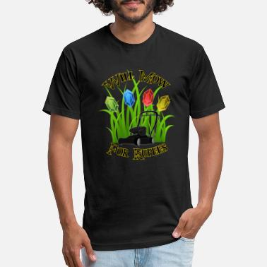 Rupee Will mow for rupees - Unisex Poly Cotton T-Shirt