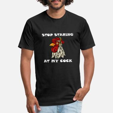 Staring Stop staring at my cock - Unisex Poly Cotton T-Shirt