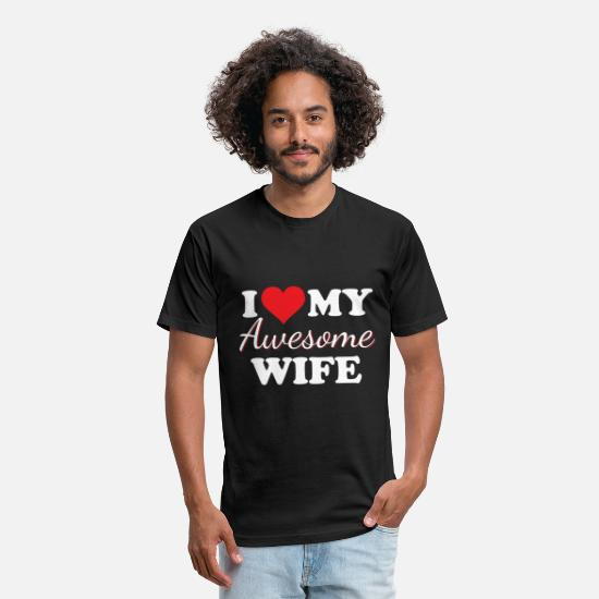 Wife T-Shirts - I love my awesome wife - Unisex Poly Cotton T-Shirt black