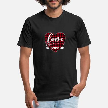 Plaid Bold Love With Buffalo Plaid Valentine For Men & - Unisex Poly Cotton T-Shirt