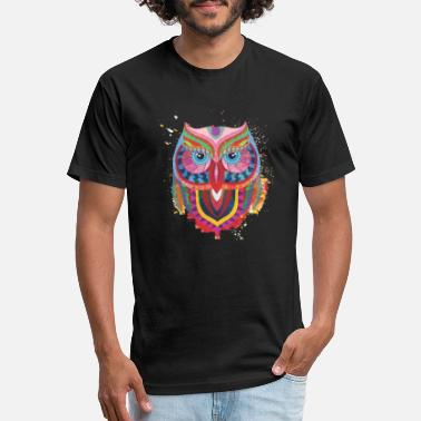 Burlesque Owl - multi color - Unisex Poly Cotton T-Shirt