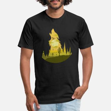 Full Howling Wolf at Full Moon - Silhouette - Unisex Poly Cotton T-Shirt