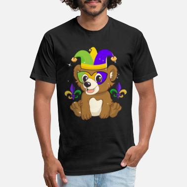 Cute Bear Cub With Jester Hat Mardi Gras T Shirt - Unisex Poly Cotton T-Shirt