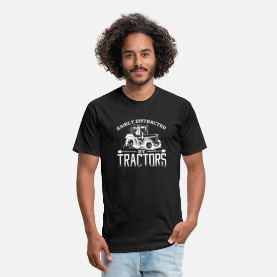 Gift Idea T-Shirts - Farmer Easily Distracted By Tractors Corn - Unisex Poly Cotton T-Shirt black