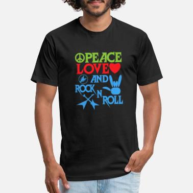 Rocknroll Peace, Love and RocknRoll Great Gift for Friends - Unisex Poly Cotton T-Shirt